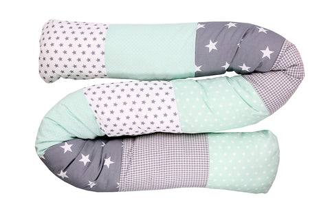 Snake Pillow – Bumper Pillow, Long Pillow For Baby, Mint Grey with Stars, 79""