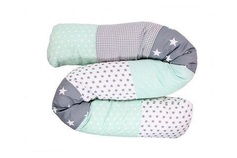 Snake Pillow – Bumper Pillow, Long Pillow For Baby, Mint Grey with Stars, 63""