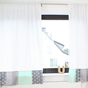 "Baby Room Curtains – 100% Cotton Baby Curtains, Mint Grey with Stars, 110"" x 84"""