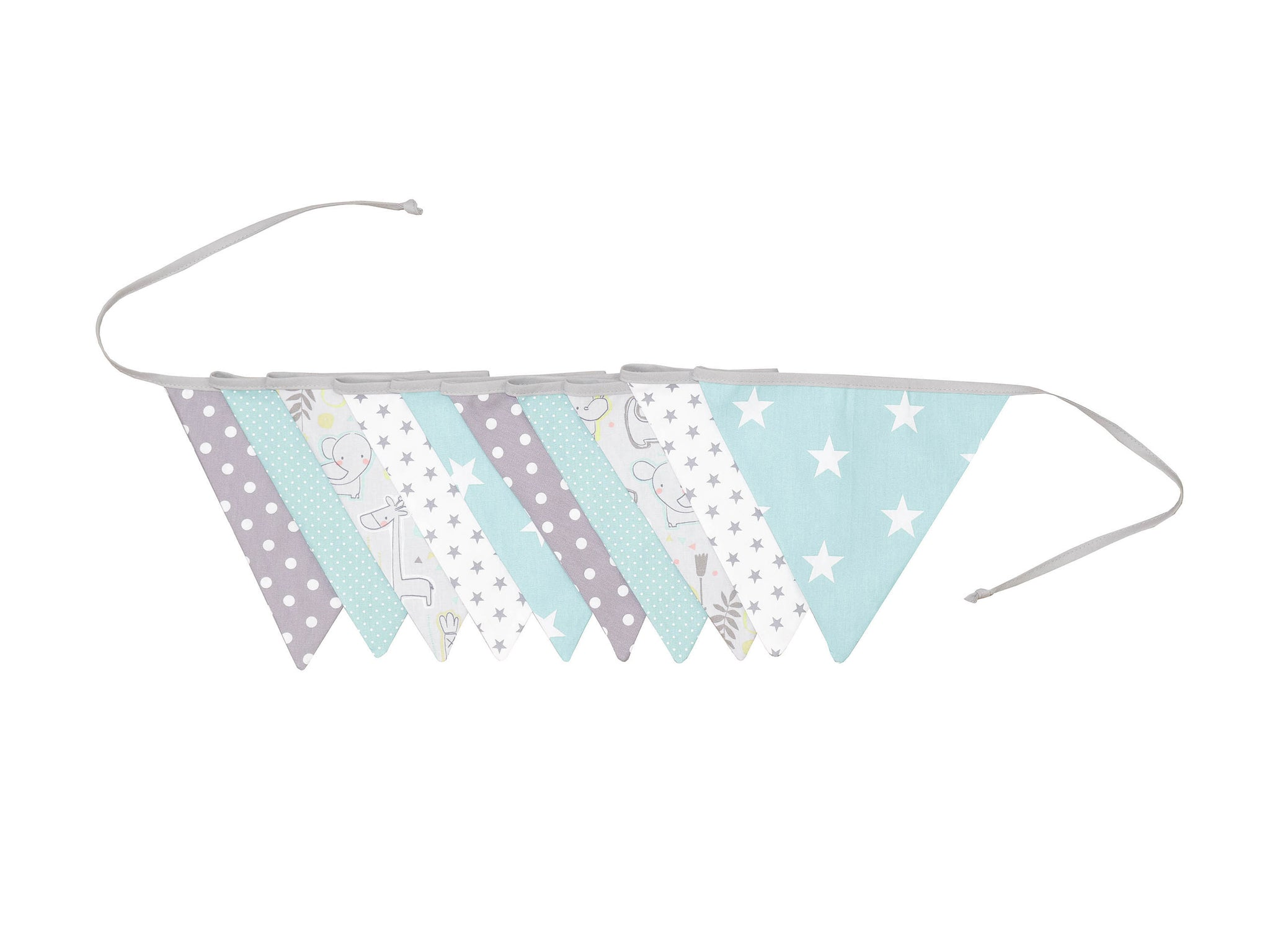 Fabric Banner Nursery Decor – Pennant Banner Decoration, Safari Peppermint, 11 ft.
