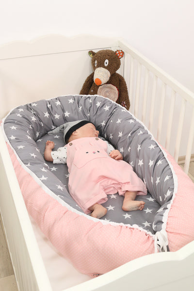 "Baby Lounger – Baby Sleeper Bed, Infant Nest, Pink Grey with Stars, 22"" x 37"""