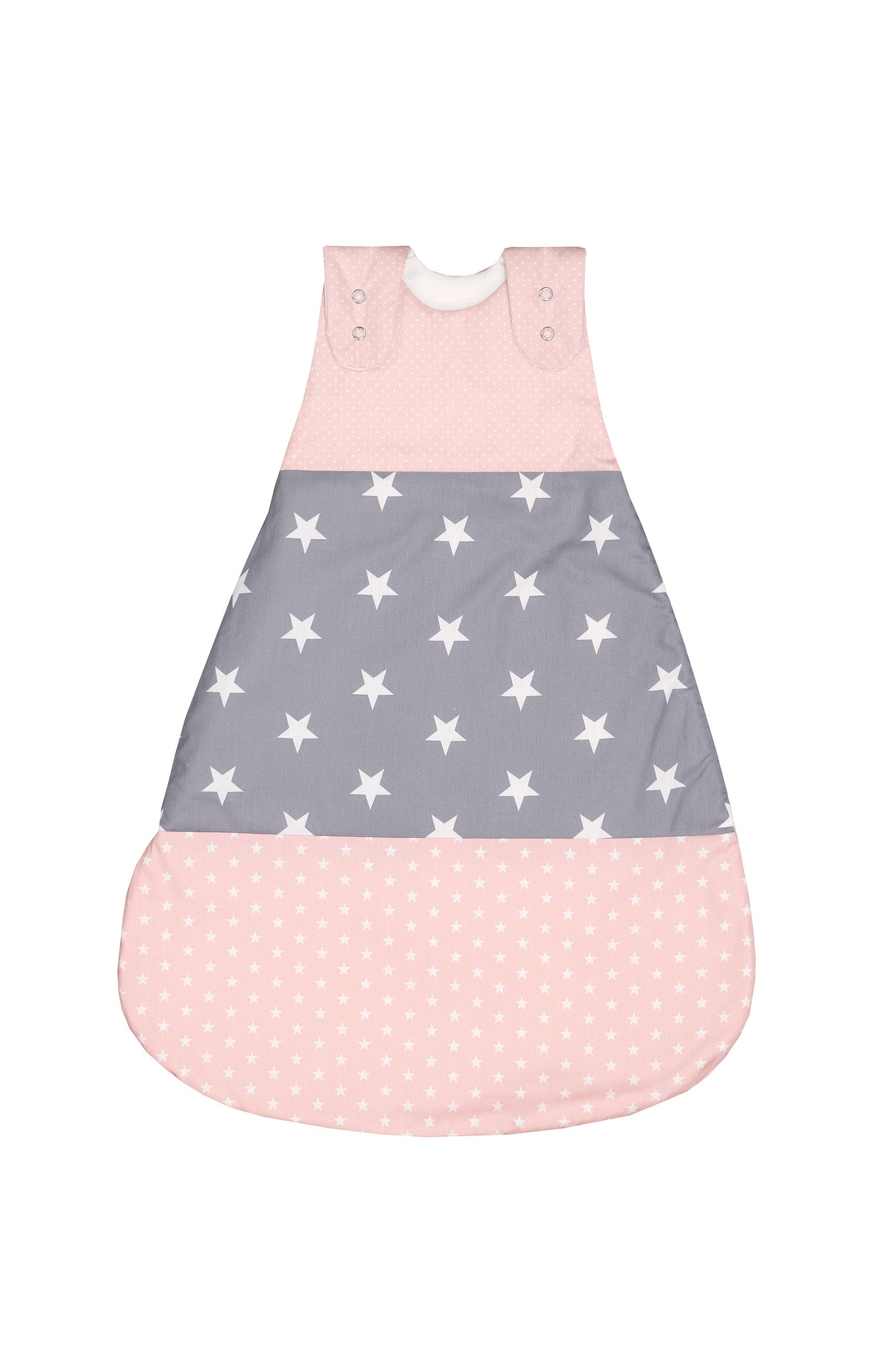 Sleep Sack – Baby Sleeping Bag, Wearable Blanket, Pink Grey with Stars, 6-12 Months