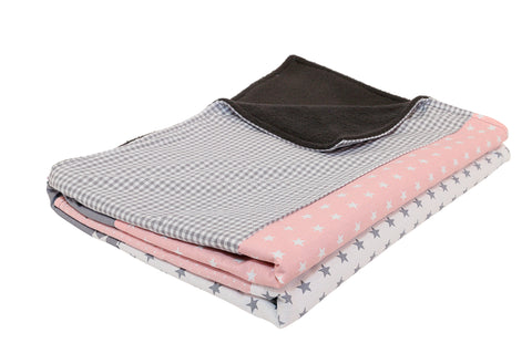 "Luxury Baby Blanket – Organic Cotton Baby Blanket, Pink Grey, 27"" x 39"""
