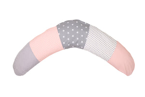 "Organic Nursing Pillow – Best Pregnancy Pillow for Side Sleepers, Pink Grey, 75"" x 15"""