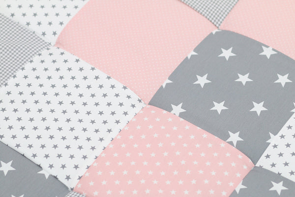 "Padded Baby Play Mat – Soft Cotton Baby Crawling Mat, Pink Grey, 40"" x 40"""