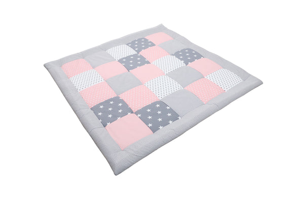 "Padded Baby Play Mat – Soft Cotton Baby Crawling Mat, Pink Grey, 47"" x 47"""