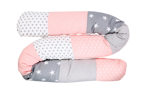 Snake Pillow – Bumper Pillow, Long Pillow For Baby, Pink Grey with Stars, 79""
