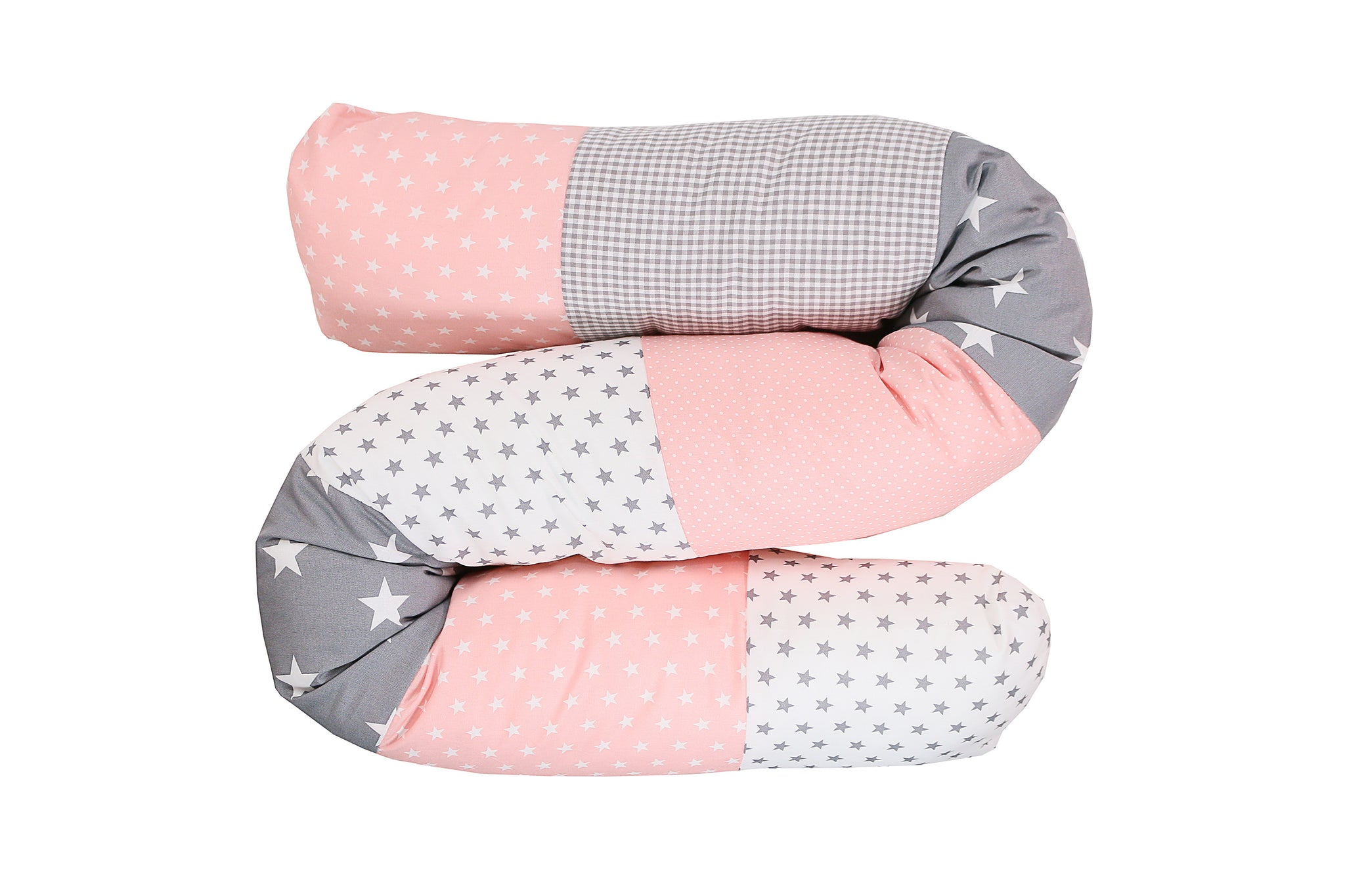 Snake Pillow – Bumper Pillow, Long Pillow For Baby, Pink Grey with Stars, 63""