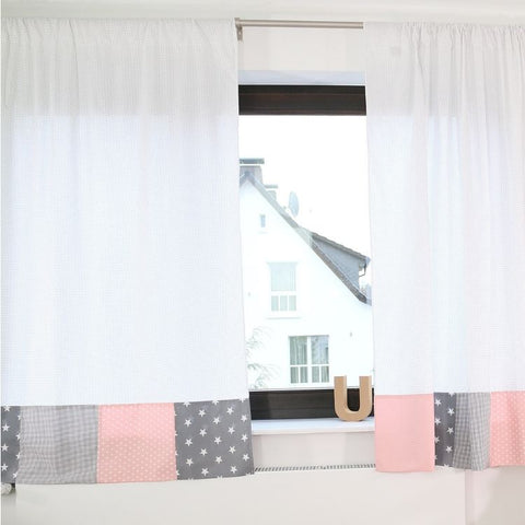 "Baby Room Curtains – 100% Cotton Baby Curtains, Pink and Grey with Stars, 110"" x 84"""