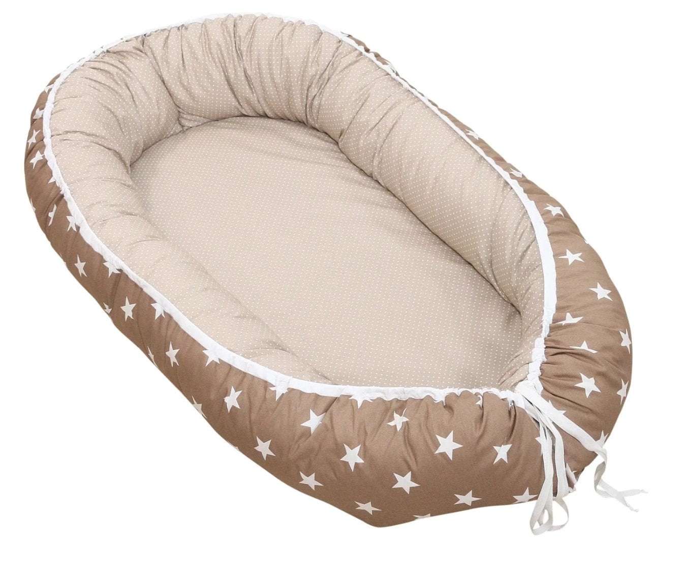"Baby Lounger – Baby Sleeper Bed, Infant Nest, Beige/ Brown with Stars, 22"" x 37"""