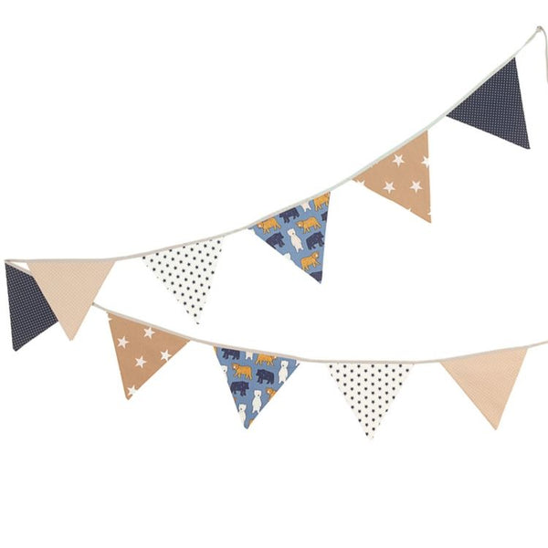 Fabric Banner Nursery Decor – Pennant Banner Decoration, Bears Beige, 11 ft.