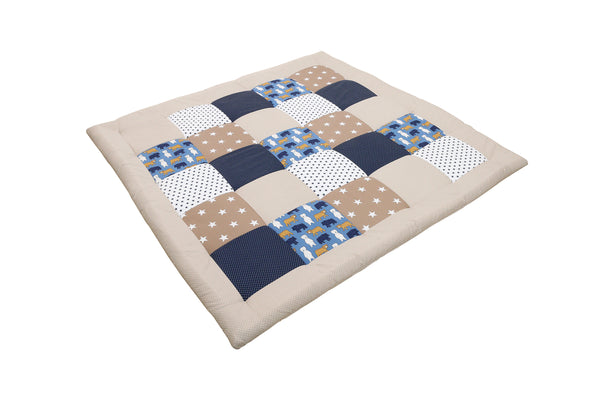 "Padded Baby Play Mat – Soft Cotton Baby Crawling Mat, Bears Beige, 47"" x 47"""