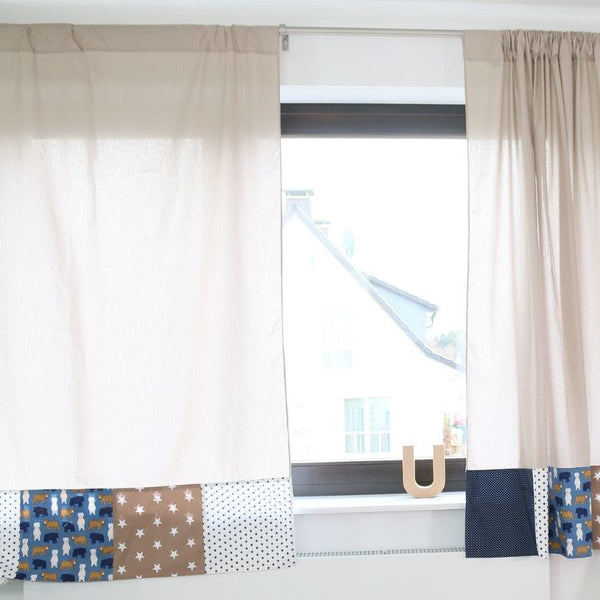 "Baby Room Curtains – 100% Cotton Baby Curtains, Baby Nursery Curtains, Beige with Bears, 110"" x 84"""