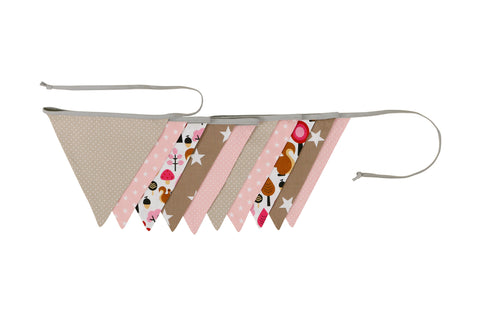 Fabric Banner Nursery Decor – Pennant Banner Decoration, Squirrels Woodland Pink Beige, 11 ft.