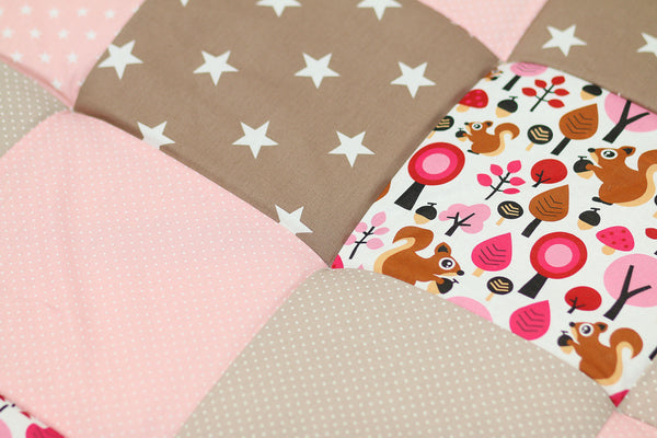"Padded Baby Play Mat – Soft Cotton Baby Crawling Mat, Squirrels Woodland Pink Beige, 47"" x 47"""