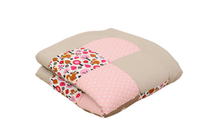 "Padded Baby Play Mat – Soft Cotton Baby Crawling Mat, Squirrels Woodland Pink Beige, 40"" x 40"""