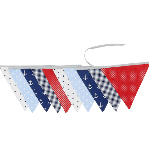 Fabric Banner Nursery Decor – Pennant Banner Decoration, Anchor Red Blue, 11 ft.