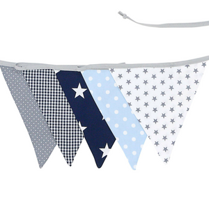 Fabric Banner Nursery Decor – Pennant Banner Decoration, Light Blue and Grey, 6 ft.