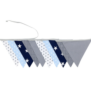 Fabric Banner Nursery Decor – Pennant Banner Decoration, Light Blue and Grey, 11 ft.