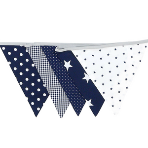 Fabric Banner Nursery Decor – Pennant Banner Decoration, Blue Stars, 6 ft.