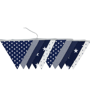 Fabric Banner Nursery Decor – Pennant Banner Decoration, Blue Stars, 11 ft.