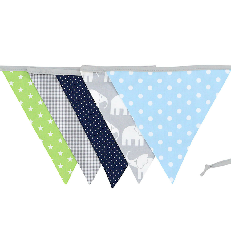 Fabric Banner Nursery Decor – Pennant Banner Decoration, Elephant Blue Green, 6 ft.
