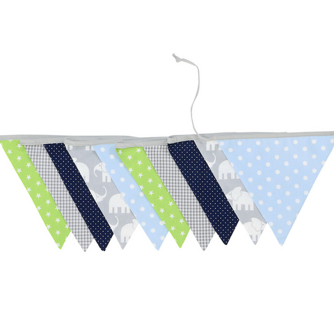 "Bunting & Nursery Garland 128"" - Elephant Blue Green"