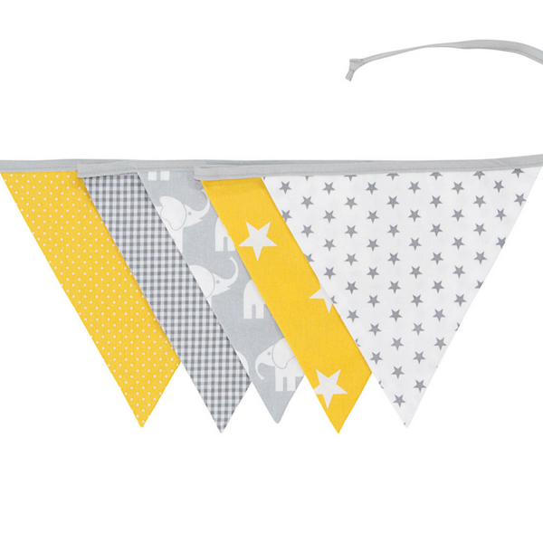 Fabric Banner Nursery Decor – Pennant Banner Decoration, Elephant Yellow, 6 ft.