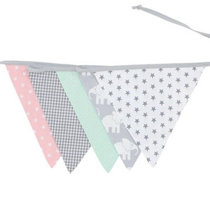 "Bunting & Baby Banner 75"" - Elephant Mint Rose"