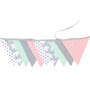Fabric Banner Nursery Decor – Pennant Banner Decoration, Elephant Mint Pink, 11 ft.