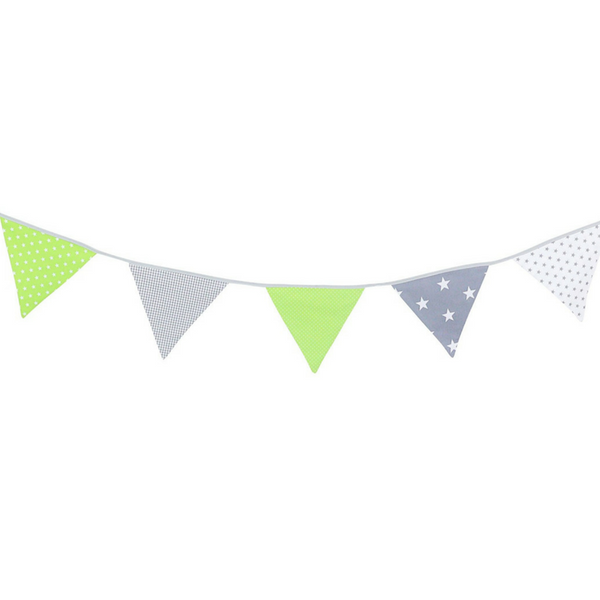 Fabric Banner Nursery Decor – Pennant Banner Decoration, Green Grey, 6 ft.