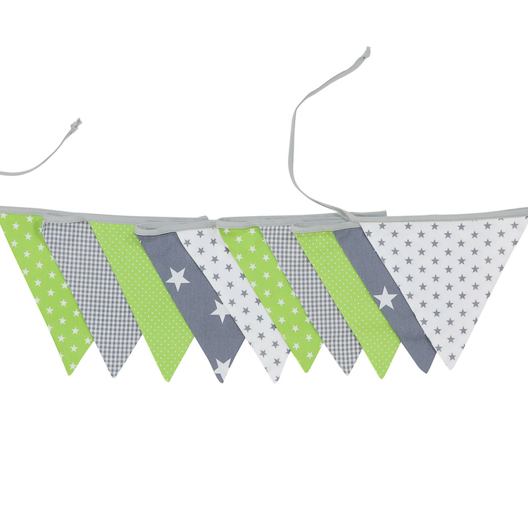 Fabric Banner Nursery Decor – Pennant Banner Decoration, Green Grey, 11 ft.