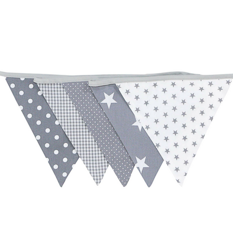 Fabric Banner Nursery Decor – Pennant Banner Decoration, Grey Stars, 6 ft.