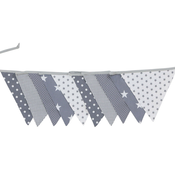 Fabric Banner Nursery Decor – Pennant Banner Decoration, Grey Stars, 11 ft.