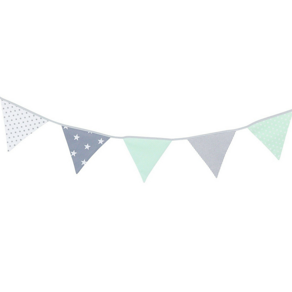 Fabric Banner Nursery Decor – Pennant Banner Decoration, Mint Grey, 6 ft.