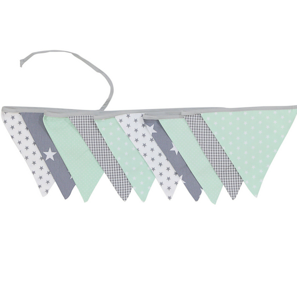 Fabric Banner Nursery Decor – Pennant Banner Decoration, Mint Grey, 11 ft.