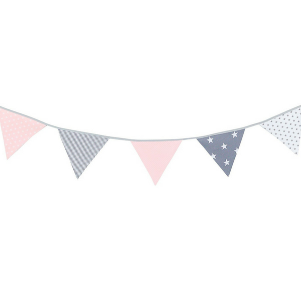 Fabric Banner Nursery Decor – Pennant Banner Decoration, Pink Grey, 6 ft.