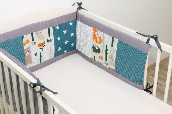 "Baby Crib Bumper Pads – Breathable Crib Liner, Organic Crib Bumper, Woodland Animals Teal, 80"" x 12"""
