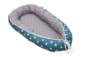 "Baby Lounger – Baby Sleeper Bed, Infant Nest, Teal/ Petrol Blue with Stars, 22"" x 37"""