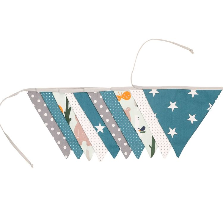 Fabric Banner Nursery Decor – Pennant Banner Decoration, Woodland Animals Teal, 11 ft.