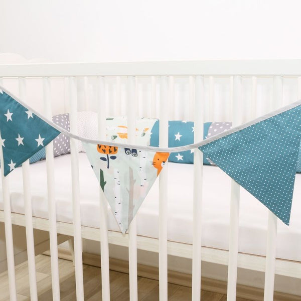 Fabric Banner Nursery Decor – Pennant Banner Decoration, Woodland Animals Teal, 4 ft.