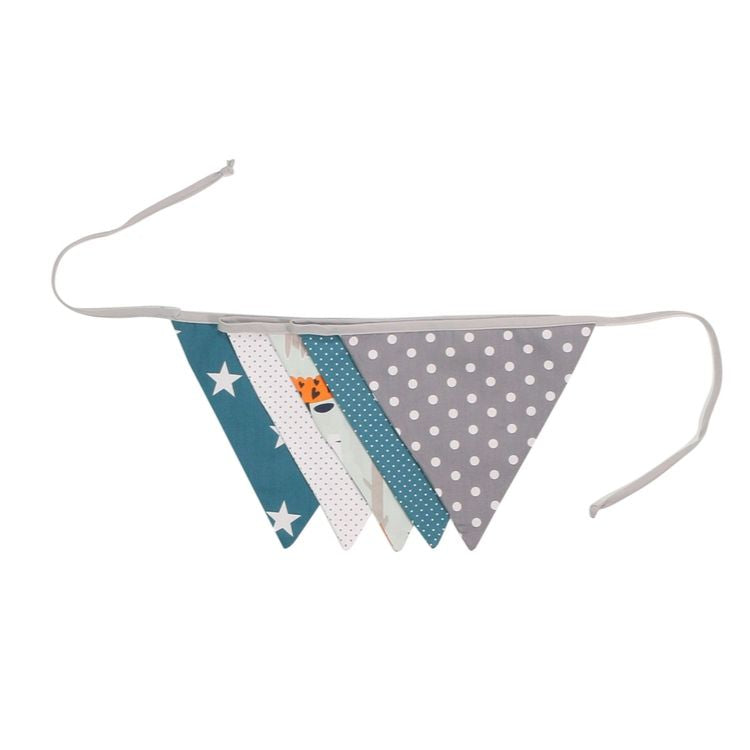 Fabric Banner Nursery Decor – Pennant Banner Decoration, Woodland Animals Teal, 6 ft.