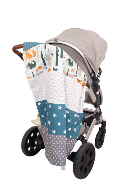 "Luxury Baby Blanket – Organic Cotton Baby Blanket, Woodland Animals Teal, 27"" x 39"""