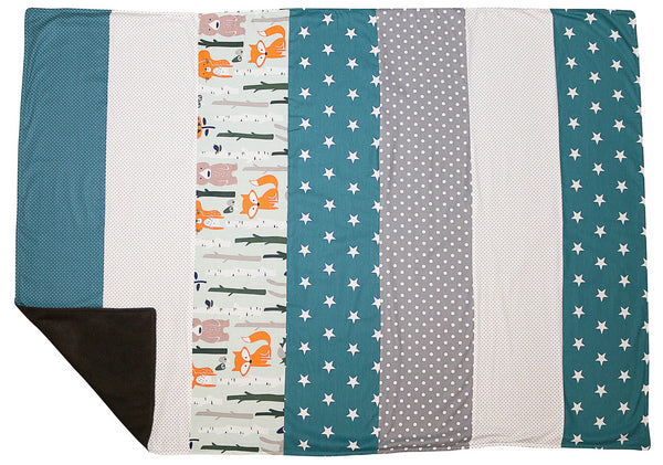 "Luxury Baby Blanket – Organic Cotton Baby Blanket, Woodland Animals Teal, 39"" x 55"""