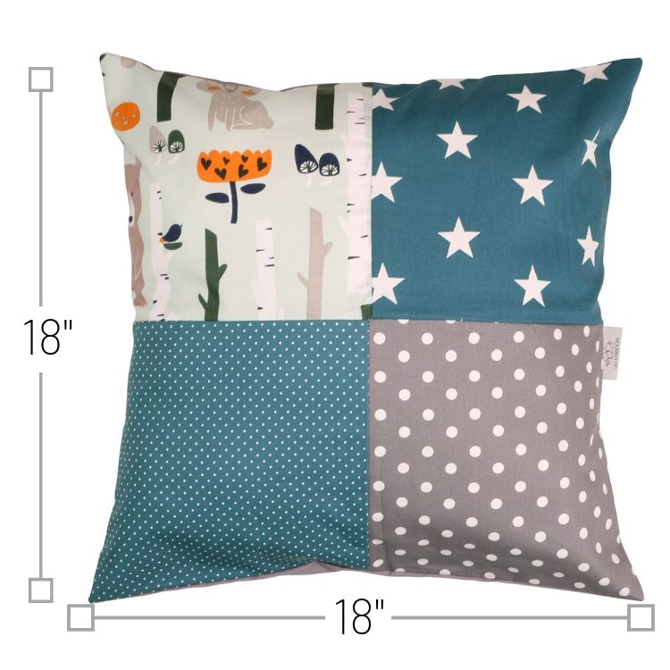 "Nursery Pillow Cover – Organic Cotton Baby Pillow Cover, Woodland Animals Teal, 18"" x 18"""