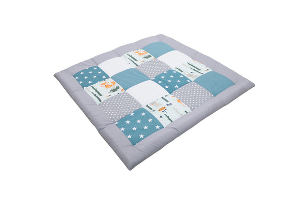 "Padded Baby Play Mat – Soft Cotton Baby Crawling Mat, Woodland Animals Teal, 40"" x 40"""