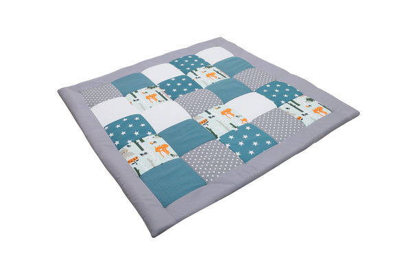 "Padded Baby Play Mat – Soft Cotton Baby Crawling Mat, Woodland Animals Teal, 47"" x 47"""