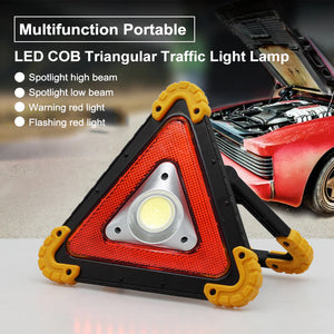 Multifunctional Triangle LED Emergency Warning Lamp Flood Light w/ Free Master Flashlight