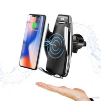 Automatic Wireless Car Charger Mount Infrared Smart Sensor Clamp Mobile Holder