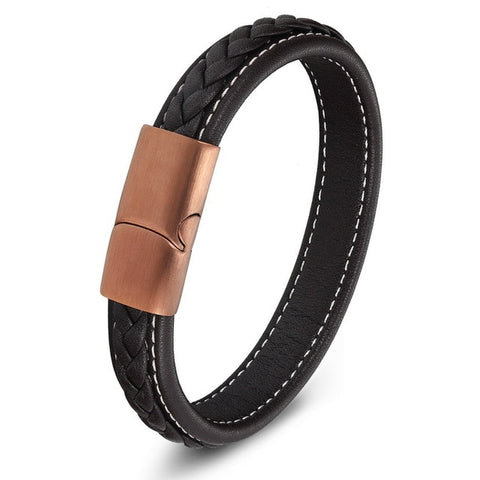 Genuine Leather Stainless Steel Magnetic Buckle